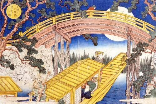 Fan Bridge by Moonlight from 'Views of Mount Tempo', 1834 by Yashima Gakutei