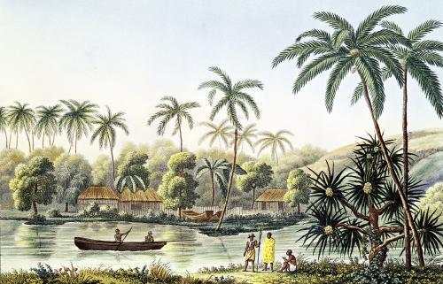 Village of Matavae Tahiti by French School