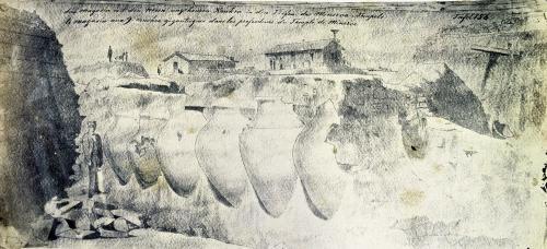Sketch of a shop with nine giant amphorae by Heinrich Schliemann