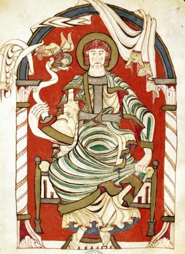 St. Matthew illustration from the Gospel of the Abbey of Corbie by French School