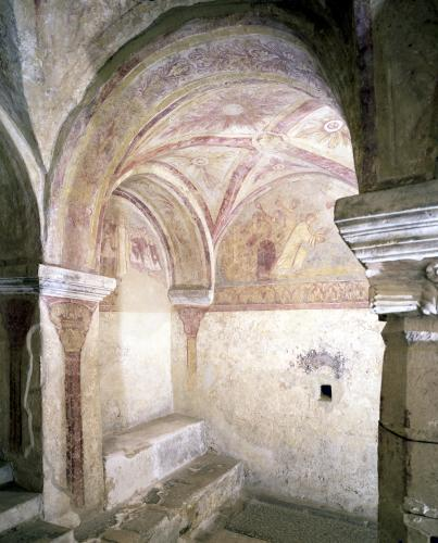 View of the Carolingian frescoes in the inner crypt by French School