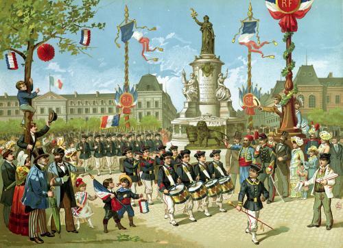 March-Past in the Place de la Republique 1880 by French School