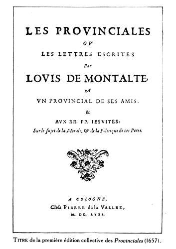 Titlepage of 'Les Provinciales' Amsterdam 1657 by German School
