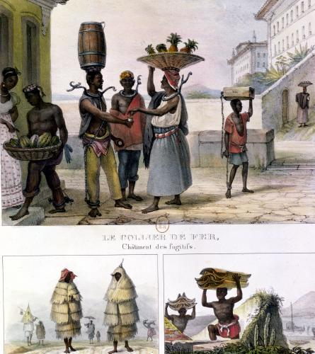 The Iron Collar Negroes Working in the Rain and Carrying Tiles by Jean Baptiste Ange Debret
