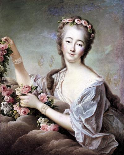 Portrait of the Countess du Barry as Flora by Francois-Hubert Drouais