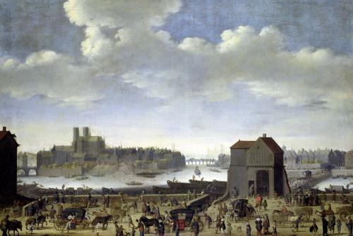 View of the Bridge and Quai de la Tournelle 1646 by Theodor Matham