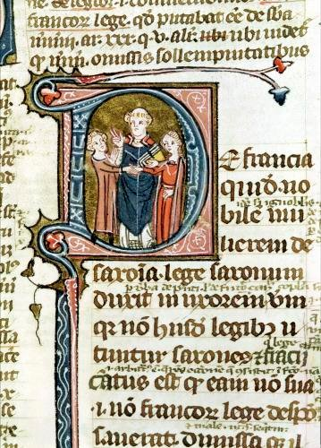 Historiated initial 'D' depicting a priest blessing a marriage by French School