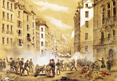 The Army Attacking a Barricade in Rue St. Antoine by French School