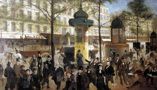 Study for a panorama of the Boulevard de Montmartre 1877 by Andre Gill
