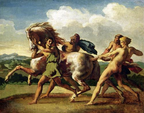 Slaves stopping a horse 1817 by Jean-Louis-André-Théodore Géricault