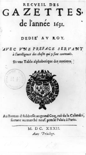 Title page of the first collection of 'La Gazette' 1632 by Theophraste Renaudot