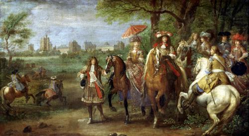 View of the Chateau de Vincennes with Louis XIV and Maria Theresa by Adam Frans van der Meulen