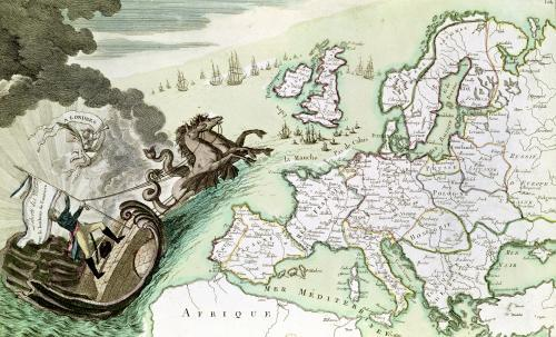 Map illustrating the Naval Attack on England by Napoleon c.1803 by French School
