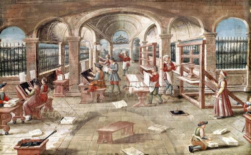 Interior of a Printing Works by French School