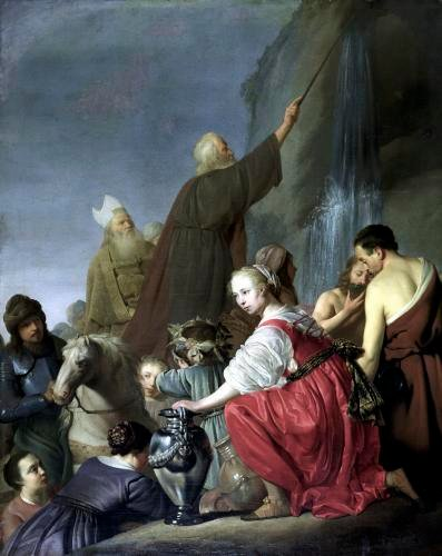 Moses Striking Water from the Rock by Salomon de Coninch