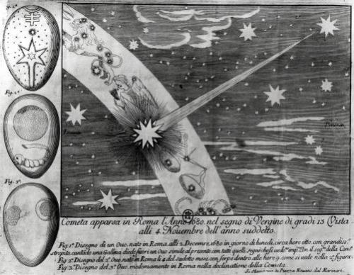 Astrological diagram of the comet that appeared in Rome during Virgo by Italian School