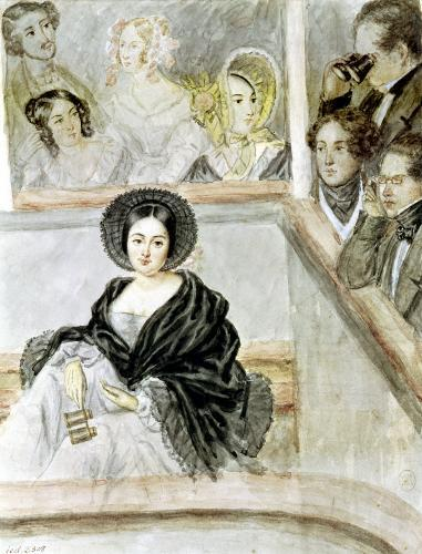 Marie Duplessis at the Theatre by Camille-Joseph-Etienne Roqueplan