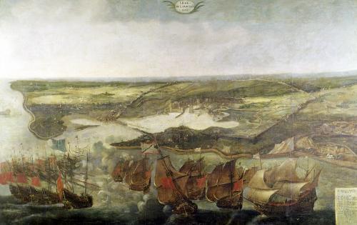 The Siege of La Rochelle in 1628 by Adrian van der Cabel