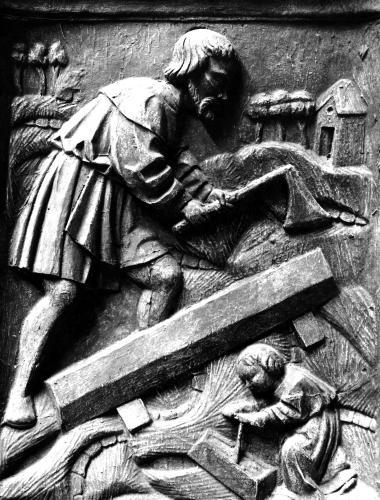 The Carpenter detail from an altarpiece by French School