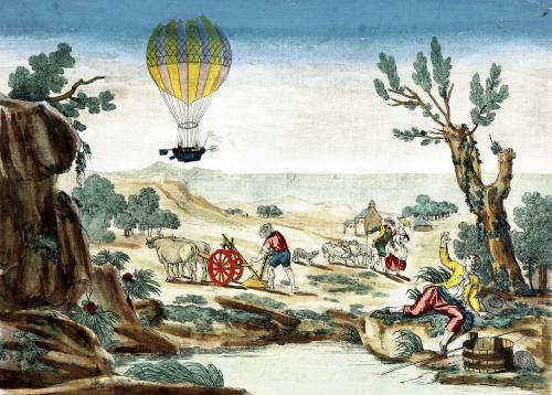 Appearance of the Hot-Air Balloon of Jean Pierre Blanchard by French School