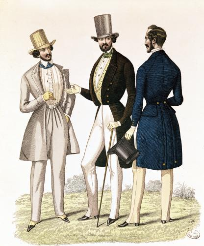 Fashion plate depicting male clothing published by 'La Fashion' by French School