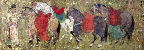 A Groom with Horses by Han Gan