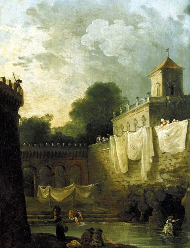Washerwomen in the Moat of an Italian Villa by Hubert Robert