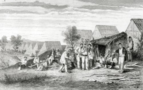 Deportee Camp on the Cros Peninsula New Caledonia 1873 by Hippolyte Dutheil