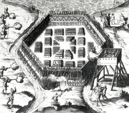 Attack on an Iroquois village from 'Voyages de la France Occidentale by French School