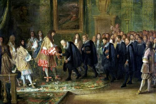 The Reception of the Ambassadors of the Thirteen Swiss Cantons by Louis XIV by Adam Frans van der Meulen