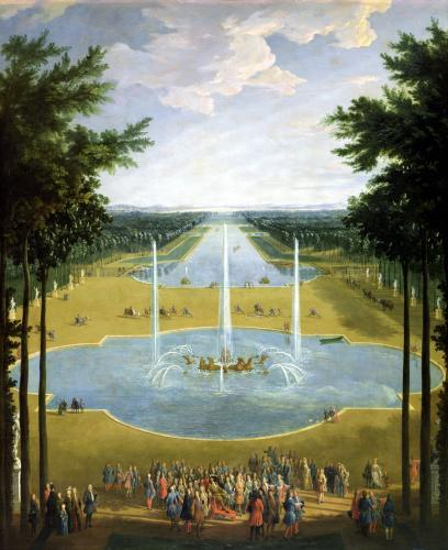 View of the Bassin d'Apollon in the gardens of Versailles 1713 by Pierre-Denis Martin