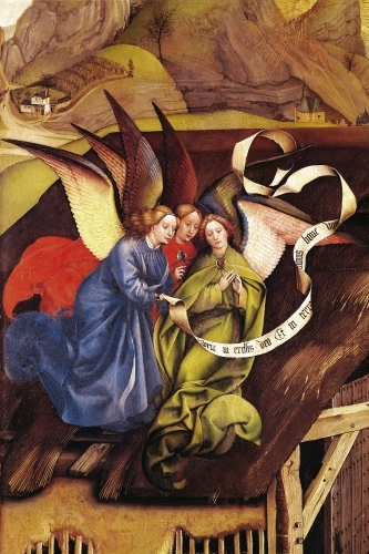 Nativity detail of three angels c.1425 by Robert Campin Master of Flemalle