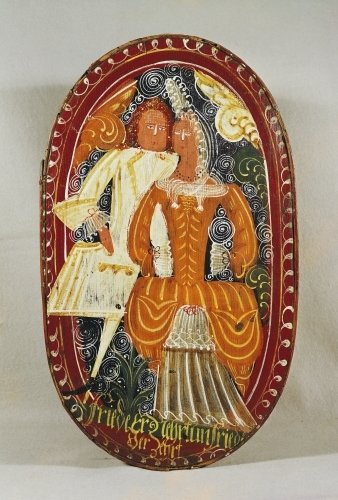 Marzipan box depicting a man and woman c.1660 by German School