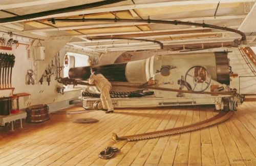Twenty-Seven Pound Cannon on a Battleship by Gustave Bourgain