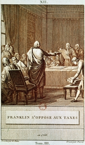 Benjamin Franklin Presenting his Opposition to the Taxes in 1766 by Le Jeune
