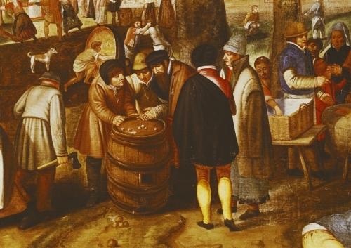 Flemish Fair detail of men playing dice by Maerten van Cleve