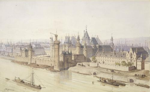 The Louvre during the Reign of Charles V by Theodor Josef Hubert Hoffbauer