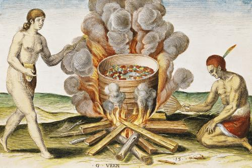 Cooking Food in a Terracotta Pot from 'Admiranda Narratio... ' by John White