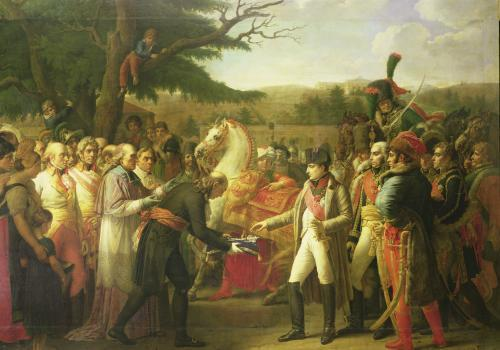 Napoleon receiving the Keys of Vienna at the Schloss Schonbrunn 1808 by Anne Louis Girodet de Roucy-Trioson