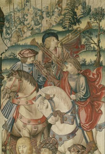 Detail of Trumpeters on horseback by Flemish School