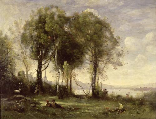 The Goatherds of Castel Gandolfo 1866 by Jean-Baptiste-Camille Corot