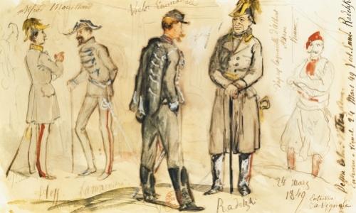 King Vittorio Emanuele II  Meeting Joseph Radetsky von Radetz by Albrecht Adam