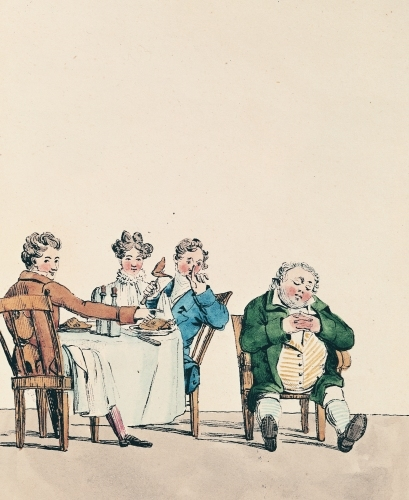 'Qui dort dine' caricature of a man sleeping after dinner by Jean Francois Garneray