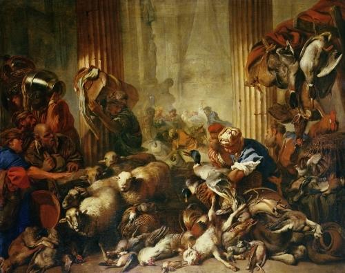 Jesus Driving the Merchants from the Temple by Giovanni Benedetto Castiglione