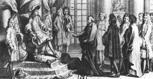Members of the French Academy presenting the dictionary to Louis XIV by Jean-Baptiste Corneille