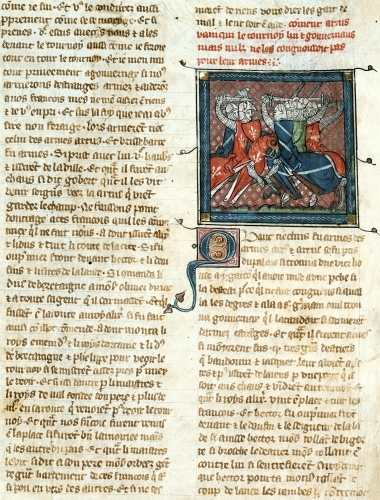 Battle between knights from 'Roman d'Artus' by French School