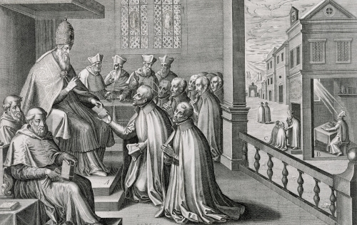 Pope Paul III receiving the Rule of the Society of Jesus 1540 by C. Malloy