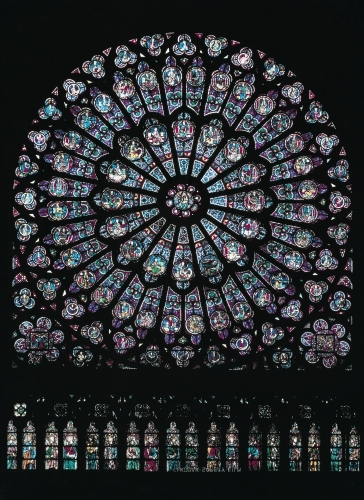 North transept rose window depicting the Virgin and Child by French School
