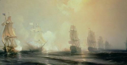 Naval Battle in Chesapeake Bay 1848 by Jean Antoine Theodore Gudin