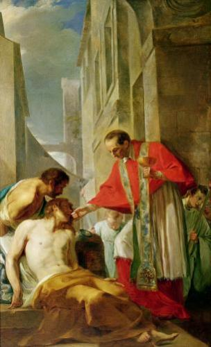 St. Charles Borromeo Administering the Sacrament to a Plague by French School